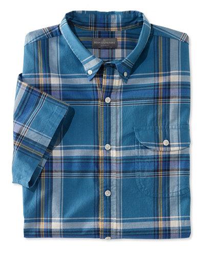 Signature men 39 s madras shirt short sleeve plaid free for Mens madras shirt sale