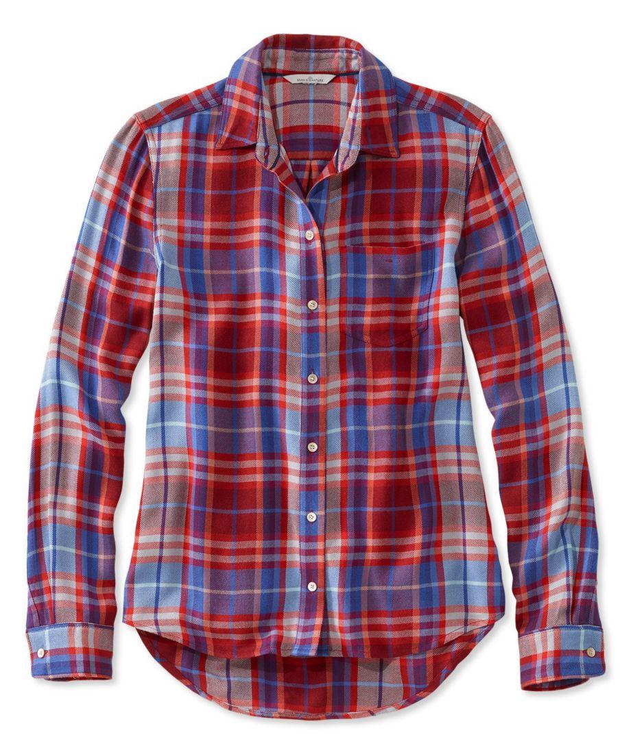Signature Drapey Button-Front Shirt, Plaid