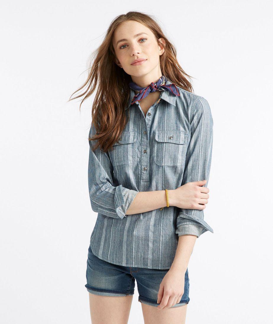 Signature Denim Popover Shirt, Stripe