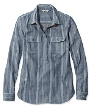 Signature Denim Popover Shirt, Stripe