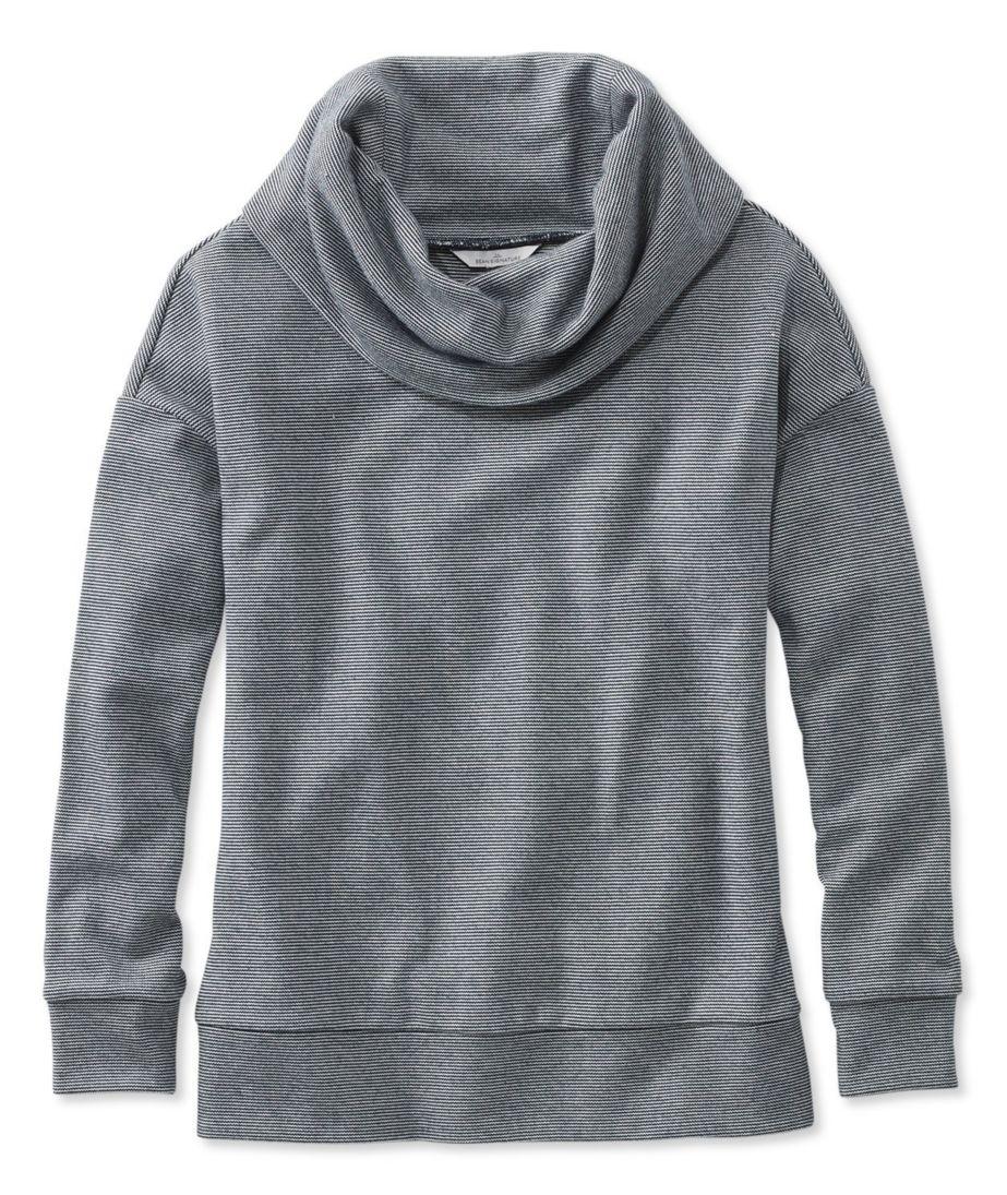 Signature Microstripe Cowlneck Sweatshirt