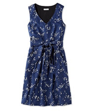 Signature V-Neck Poplin Dress, Night Print