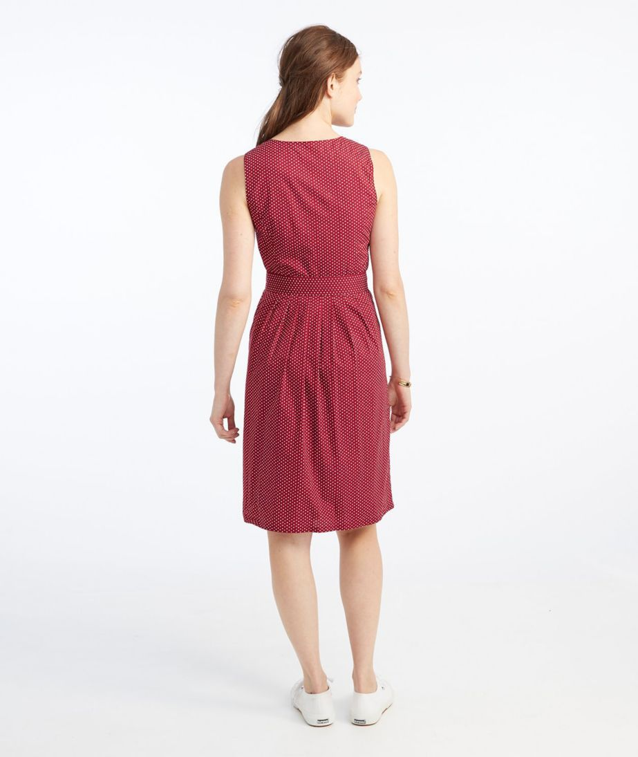 Signature V-Neck Poplin Dress, Dark Cranberry Dot