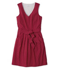 Signature V-Neck Poplin Dress, Dark Cranberry Dot