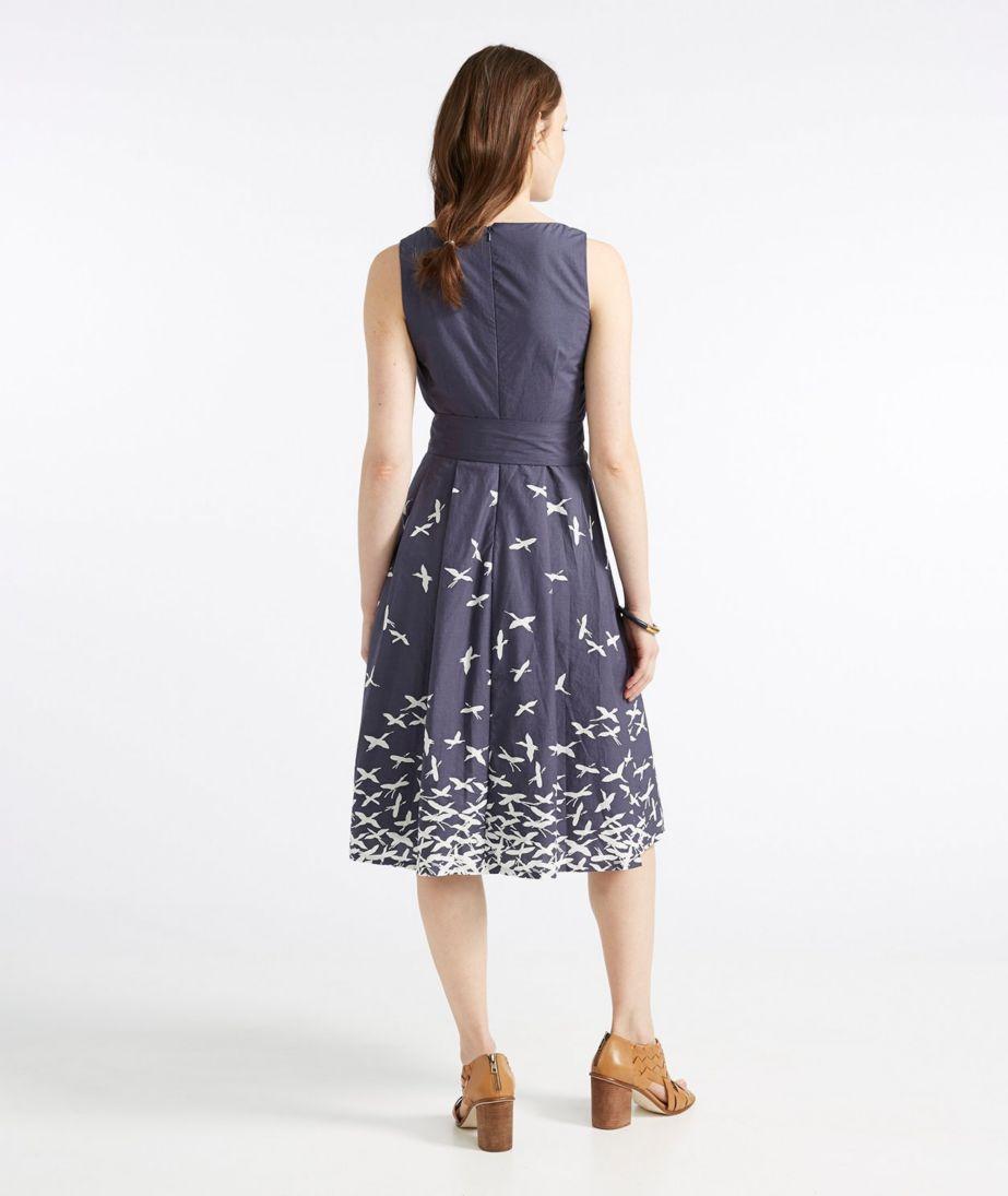 The Signature Poplin Dress, Navy Bird Print