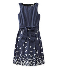 The Signature Poplin Dress, Navy Bird Print
