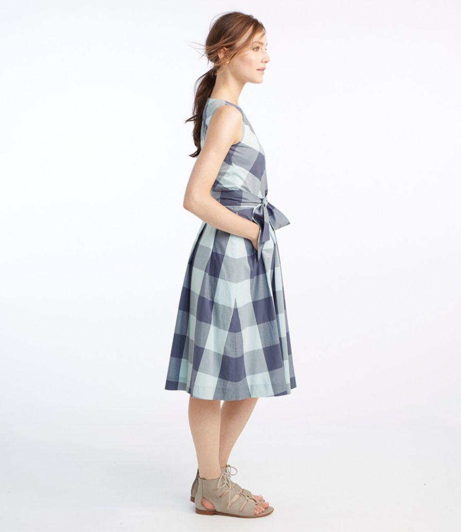 Signature Poplin Dress, Midnight Check