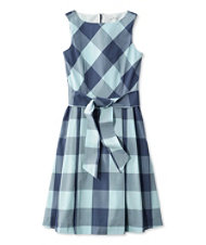 Signature Poplin Dress, Midnight Check