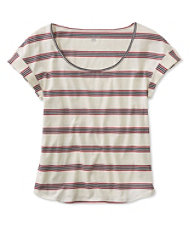 Signature Cotton/Modal Scoopneck, Short-Sleeve Dark Cranberry Stripe
