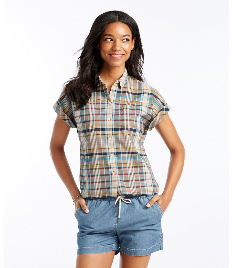 Women's Signature Madras Shirt, Short-Sleeve