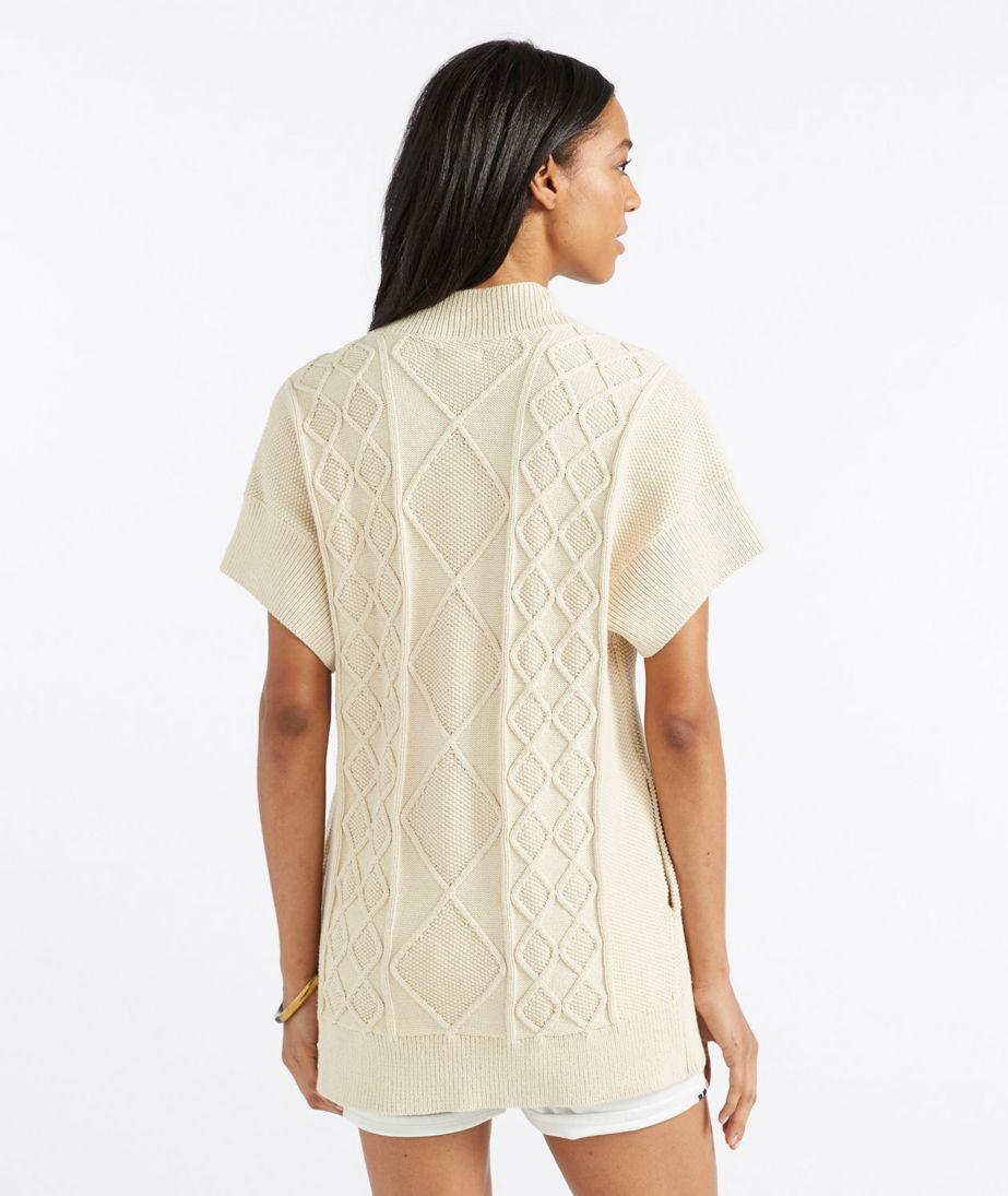Signature Cotton Fisherman Sweater, Short-Sleeve Open Cardigan