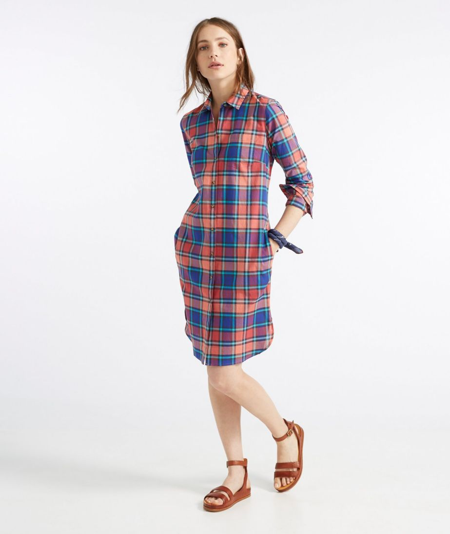 Signature Madras Button-Front Shirt Dress