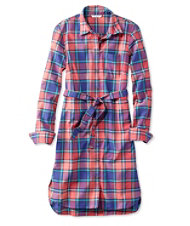 Signature Madras Button-Front Shirt Dress