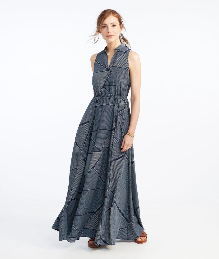 Signature Maxi Dress, Navy Print