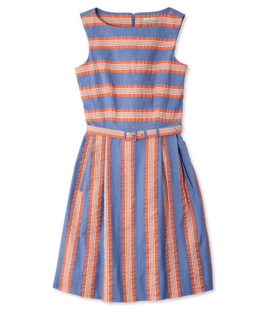 Signature Seersucker Sleeveless Dress, Stripes