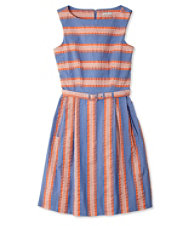 Signature Seersucker Sleeveless Dress, Stripes