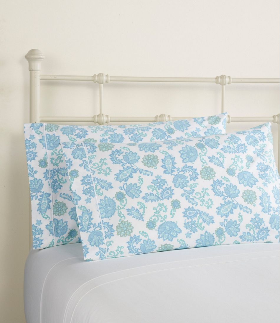340-Thread-Count Cotton Sateen Pillowcases, Floral, Set of Two
