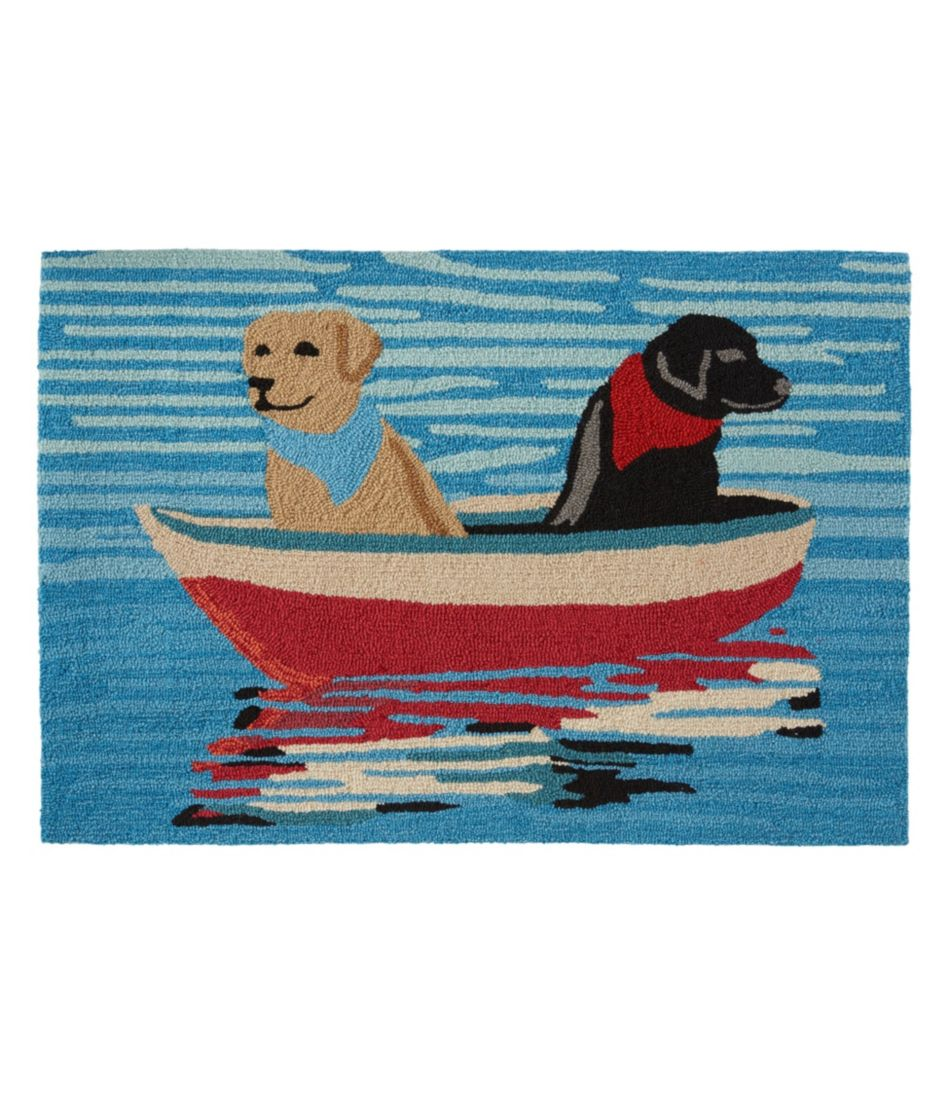 Indoor/Outdoor Vacationland Rug, Row Boat Dogs