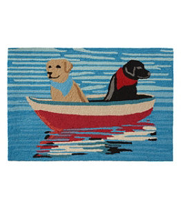 Indoor/Outdoor Vacationland Rug, Row Boat Dogs
