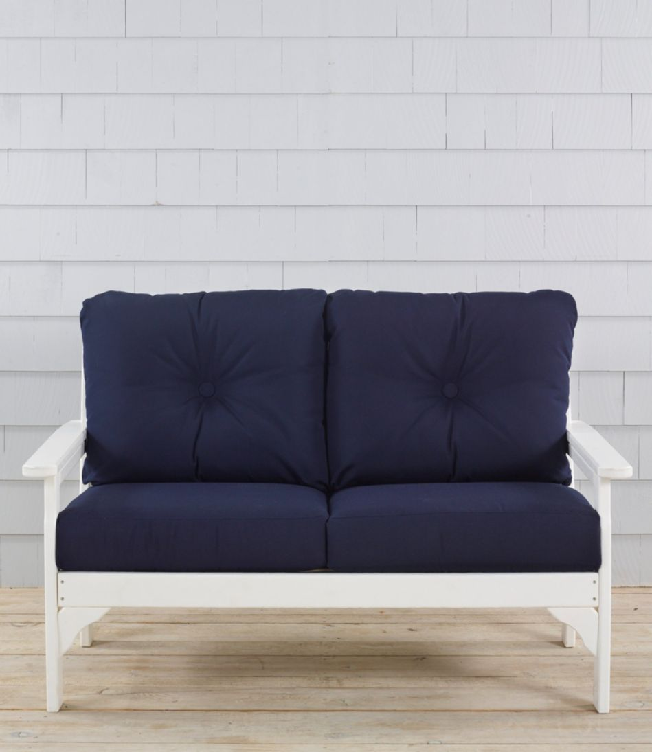All-Weather Patio Settee with Navy Cushion