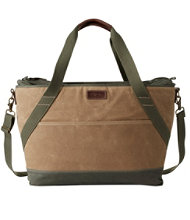 Insulated Waxed-Canvas Tote, Large