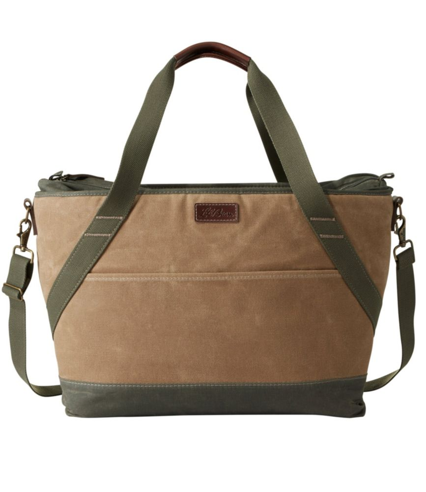 Insulated Waxed Canvas Tote, Large
