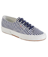 Women's Superga Classic COTU 2750 Sneakers, Shirt Fabric Stripe