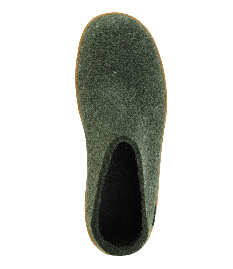 Glerups Wool Slippers, Open Heel Rubber Outsoles