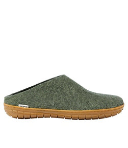 Adults' Glerups Wool Slippers, Open Heel Rubber Outsoles