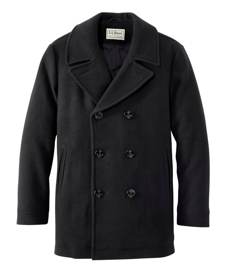 Men's Vintage Style Coats and Jackets L.L.Bean Wool Peacoat $279.00 AT vintagedancer.com