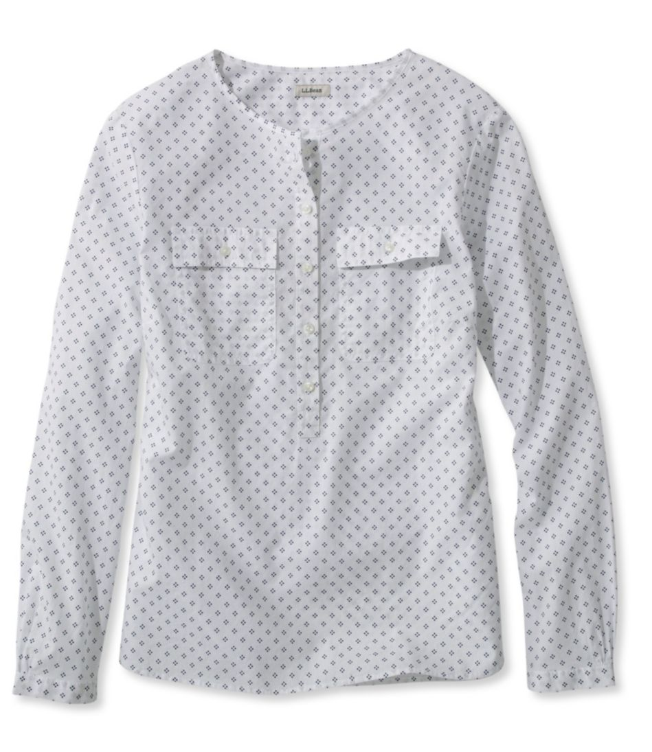 Cotton Henley Pullover, Long-Sleeve Dot