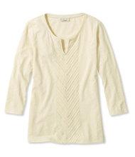 Linen/Cotton Embroidered Tee, Three-Quarter-Sleeve