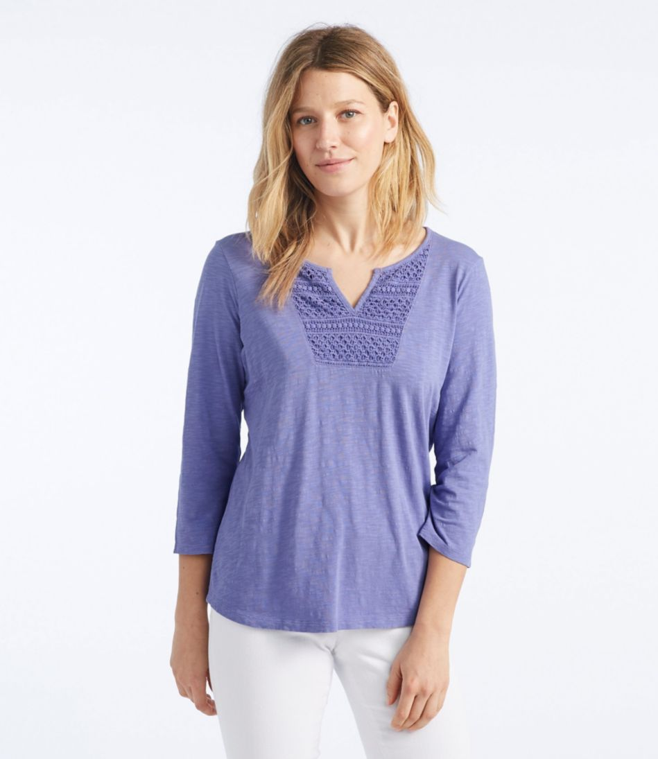 Splitneck Crochet-Trimmed Tee, Three-Quarter-Sleeve