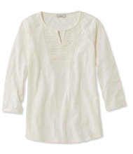 Women's Splitneck Crochet-Trimmed Tee, Three-Quarter-Sleeve