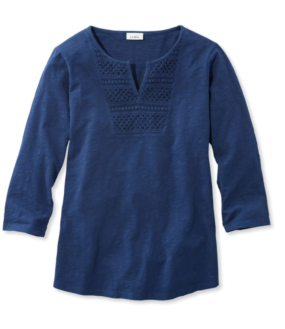 Splitneck Crochet-Trimmed Tee, Three-Quarter-Sleeve