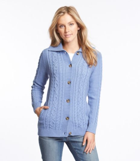 Double L® Mixed-Cable Sweater, Button-Front Cardigan