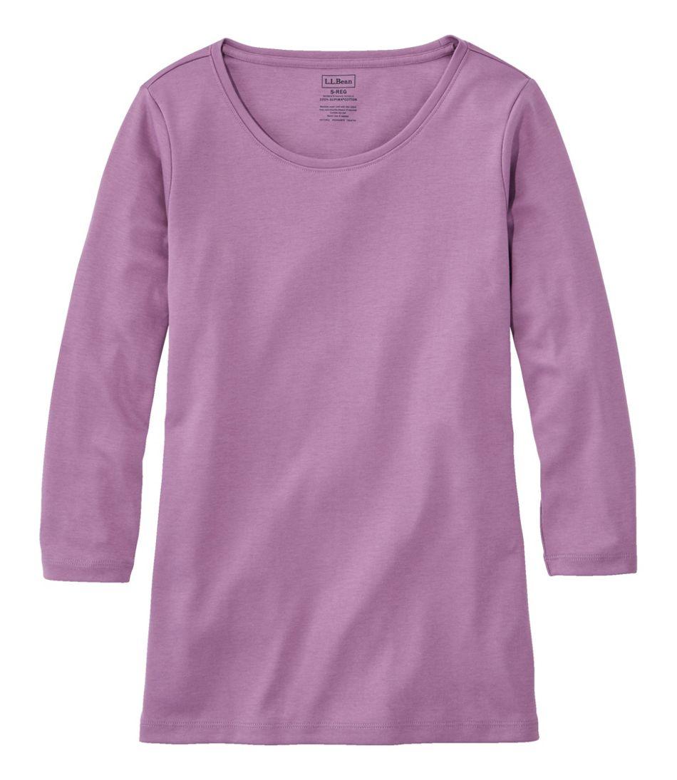 Women's Pima Cotton Shaped Tee, Three-Quarter-Sleeve Jewelneck