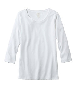 Pima Cotton Shaped Tee, Three-Quarter-Sleeve Jewelneck