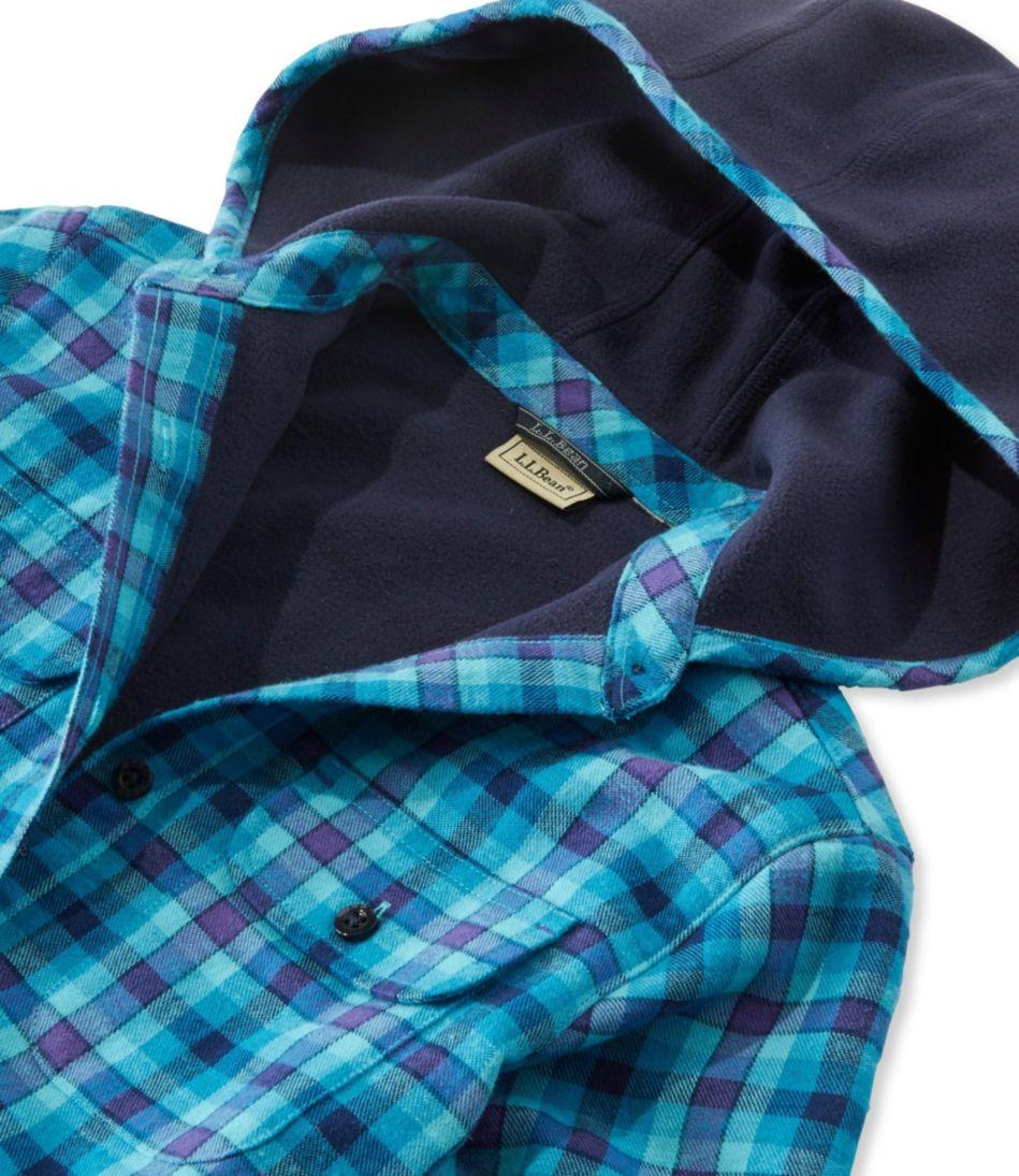 Girls' Fleece-Lined Flannel Shirt, Hooded Plaid