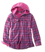 Girls' Fleece-Lined Flannel Shirt, Hooded Plaid