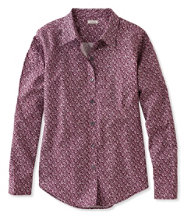 Women's Wrinkle-Free Pinpoint Oxford Shirt, Long-Sleeve Relaxed Fit Floral