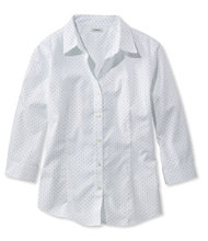 Wrinkle-Free Pinpoint Oxford Shirt, Three-Quarter Sleeve Slightly Fitted Dot
