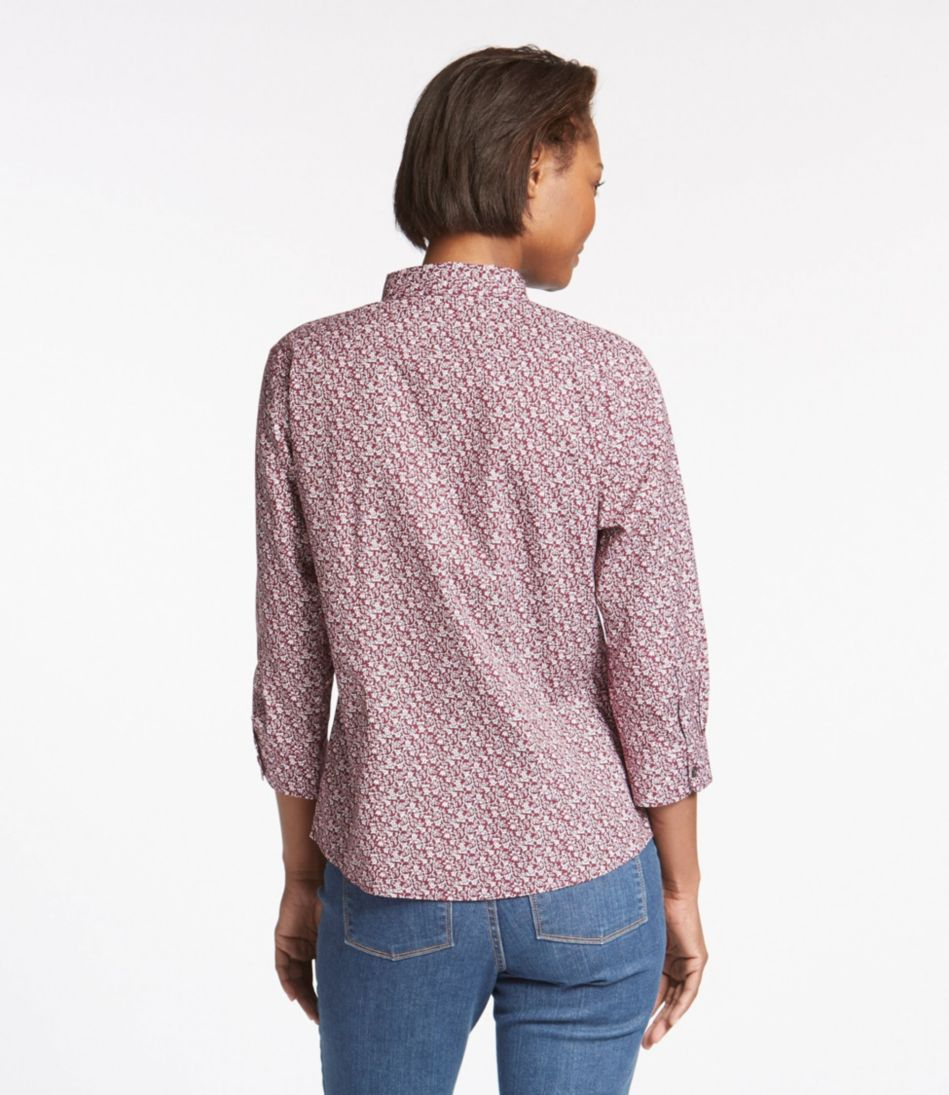Wrinkle-Free Pinpoint Oxford Shirt, Three-Quarter-Sleeve Slightly Fitted Floral
