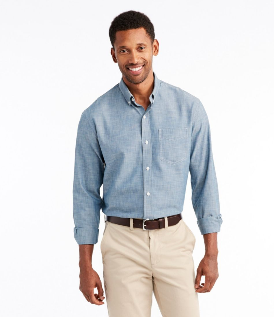 Easy-Care Chambray Shirt, Traditional Fit