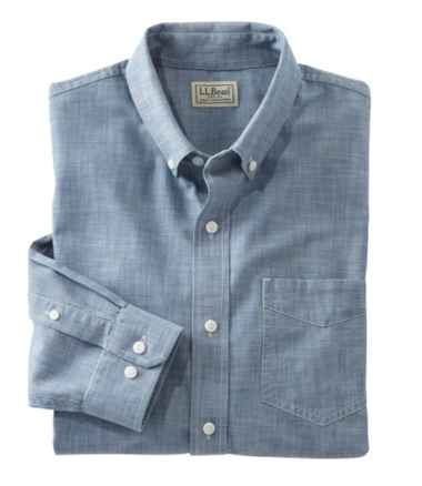Men's Easy-Care Chambray Shirt, Traditional Fit