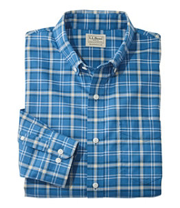 Men's Easy-Care Chambray Shirt, Traditional Fit Plaid