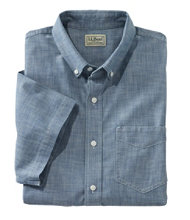 Easy-Care Chambray Shirt, Traditional Fit Short-Sleeve
