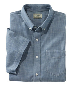 Men's Easy-Care Chambray Shirt, Traditional Fit Short-Sleeve