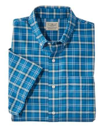 Men's Easy-Care Chambray Shirt, Traditional Fit Short-Sleeve Plaid