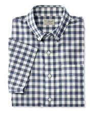 Easy-Care Chambray Shirt, Traditional Fit Short-Sleeve Plaid